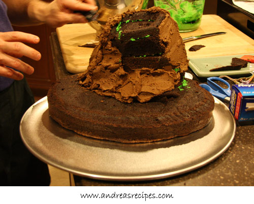 Andrea's Recipes - Volcano Birthday Cake, chocolate frosting