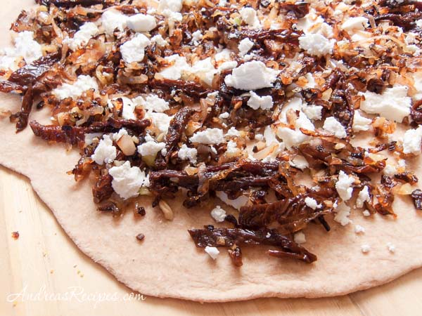 Whole Wheat Pizza with Caramelized Shallots, Sun-Dried Tomatoes, and Goat Cheese
