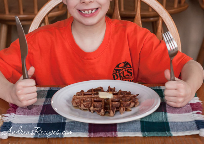 Andrea Meyers - Honey Cinnamon Whole Wheat Waffles, eat with a smile