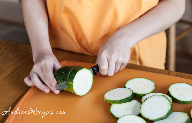 Andrea Meyers - Slicing zucchini.