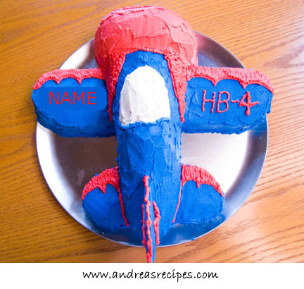 Airplane cake, top