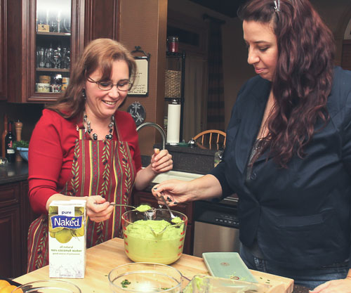 Andrea Meyers - Tasting avocado soup with my friend Michele (Frank Stoehrer, photographer)