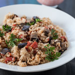 Eggplant and Tomato Pilaf with Greek Yogurt - Andrea Meyers