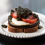 Open-Faced Grilled Eggplant Sandwich with Pesto, Tomatoes, and Fresh Mozzarella (The Kids Cook Monday) - Andrea Meyers