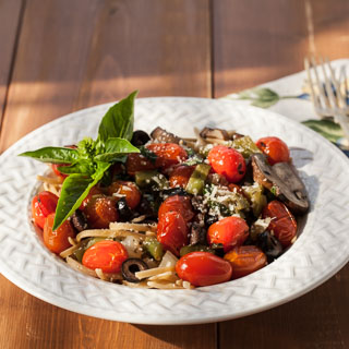 Linguine with Peppers and Roasted Grape Tomatoes Recipe - Andrea Meyers