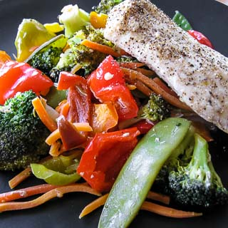 Steamed Mahi-Mahi with Stir-Fried Vegetables
