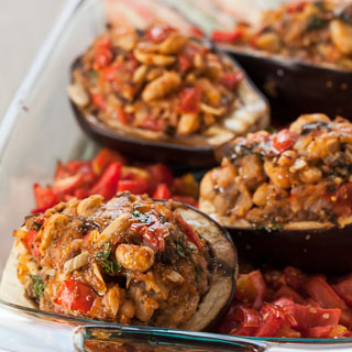 Grilled Stuffed Eggplant Recipe - Andrea Meyers