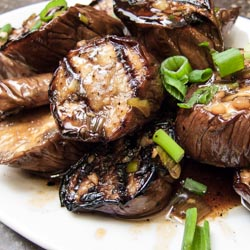 Grilled Chinese Eggplant with Garlic and Ginger Sauce - Andrea Meyers