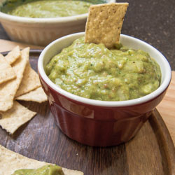 Roasted Tomatillo Jalapeno Salsa with Avocado