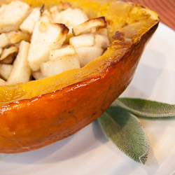 Roasted Acorn Squash with Apples, Nuts, and Sage - Andrea Meyers