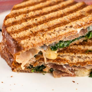 Panini with Prosciutto, Fontina, Spinach and Slow-Roasted Tomatoes