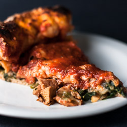 Stuffed Pizza with Spinach and Chanterelles
