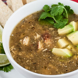 Roasted Tomatillo Soup with Chicken (Sopa Verde con Pollo)