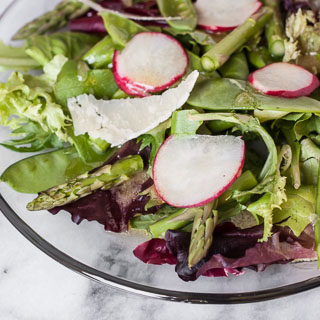 Spring Greens Salad with Asparagus, Snow Peas, Radishes, and Honey Dijon Vinaigrette