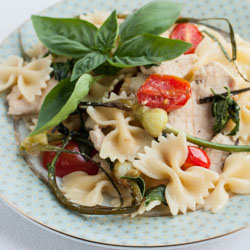 Pasta with Chicken, Garlic Scapes, Tomatoes, and Basil - Andrea Meyers