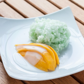 Thai Green Sticky Rice with Mango