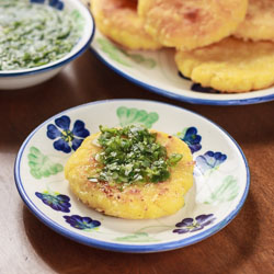 Colombian Arepas with Cheese (Arepas con Queso) and Aji