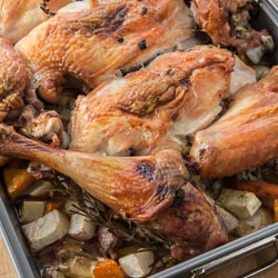 Roast Turkey Recipe with Root Vegetables and Gravy - Andrea Meyers