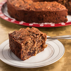 Spiced Applesauce Cake with Black Walnuts, Rum Raisins, and Dates