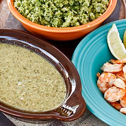 Tomatillo and Pumpkin Seed Sauce with Shrimp (Pipian Verde con Camarones)