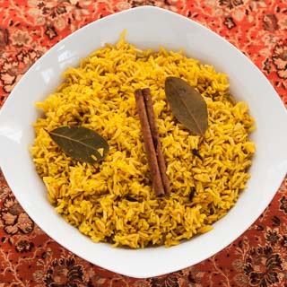 Indian Savory Yellow Rice Recipe (The Kids Cook Monday) - Andrea Meyers