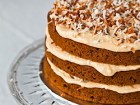 Andrea Meyers - Spiced Pumpkin Layer Cake with Dulce de Leche Cream Cheese Frosting and Toasted Coconut