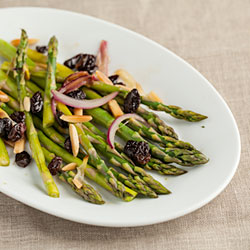 Andrea Meyers - Steamed Asparagus with Red Onions, Almonds, and Raisins