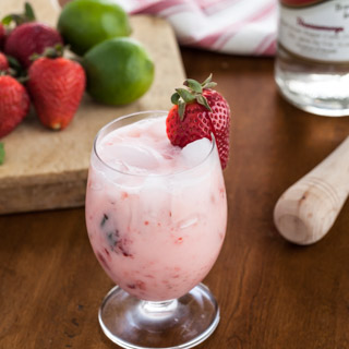 Strawberries and Cream Caipirinha Cocktail