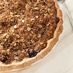 Peach Blueberry Pie with Oatmeal Crumb Topping and Crust