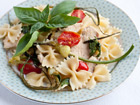 Andrea Meyers - Pasta with Chicken, Garlic Scapes, Tomatoes, and Basil