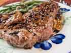 Andrea Meyers - Steak au Poivre with Sauteed Porta Bella Mushrooms