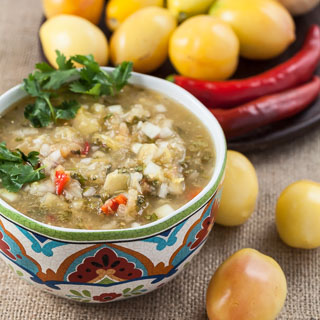 Sweet Yellow Tomato Salsa with Vidalia Onion, Red Chilies, Lime, and Cilantro