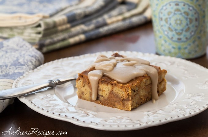 Pumpkin Bread Pudding with Maple Glaze Recipe - Andrea Meyers