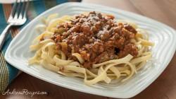 Creamy Italian Three-Meat Sauce with Fettuccine - Andrea Meyers