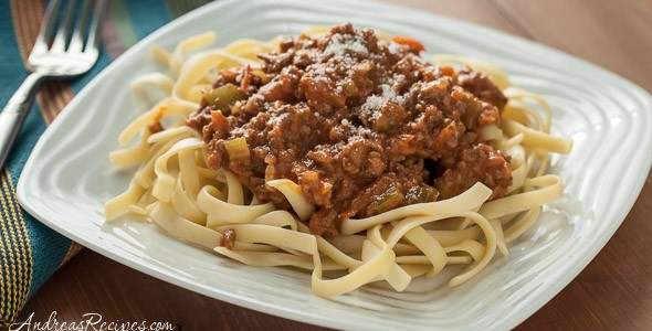 Creamy Italian Three-Meat Sauce with Fettuccine - Andrea Meyers