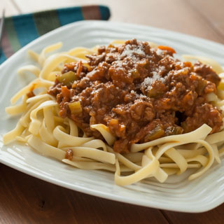 Creamy Italian Three-Meat Sauce with Fettuccine