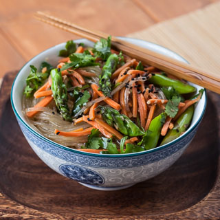 Asparagus Noodle Salad Recipe with Sesame Ginger Vinaigrette - Andrea Meyers