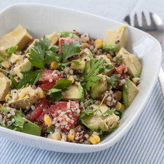Quinoa Avocado Salad Recipe with Parsley, Corn, Tomatoes, and Lemon Vinaigrette - Andrea Meyers