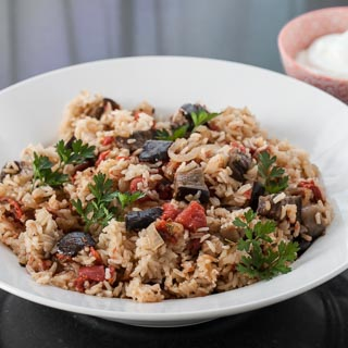 Eggplant and Tomato Pilaf Recipe with Greek Yogurt - Andrea Meyers