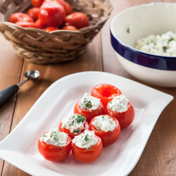 Campari Tomatoes Stuffed with Goat Cheese and Herbs Recipe - Andrea Meyers