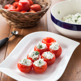 Campari Tomatoes Stuffed with Goat Cheese and Herbs
