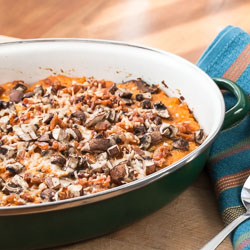Butternut Squash Au Gratin with Mushrooms and Bacon