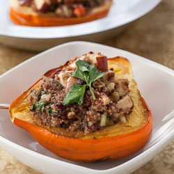 Roasted Acorn Squash with Cranberry, Apple, and Quinoa Stuffing