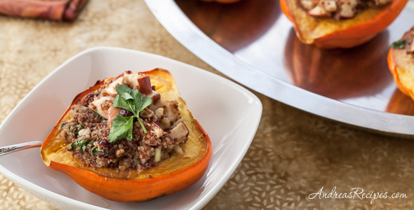 Roasted Acorn Squash Recipe with Cranberry, Apple, and Quinoa Stuffing - Andrea Meyers
