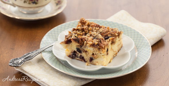 Eggnog Cranberry Bread Pudding Recipe - Andrea Meyers