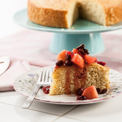 Meyer Lemon Polenta Cake Recipe with Winter Fruit Compote - Andrea Meyers