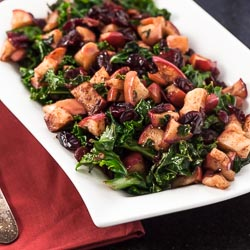 Warm Kale Salad with Dried Cranberries and Apples