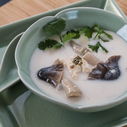 Thai Chicken Coconut Soup Recipe (Tom Kah Gai) - Andrea Meyers