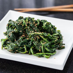 Japanese Sesame Spinach Salad Recipe with Dandelion Greens, Goma-ae - Andrea Meyers