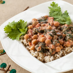 Chickpea Curry Recipe with Spinach and Tomatoes - Andrea Meyers